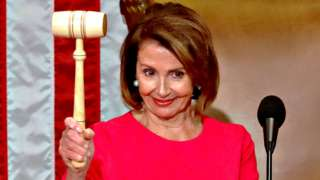 Nancy Pelosi raises the gavel after being elected as House Speaker