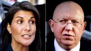 US ambassador to the UN Nikki Haley and Moscow's representative Vasily Nebenzia
