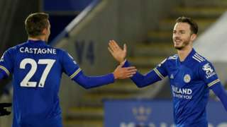 James Maddison celebrates after scoring against Chelsea