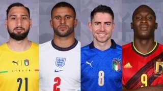 Gianluigi Donnarumma, Kyle Walker,Jorginho, Romelu Lukaku