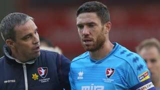 Cheltenham Town captain Ben Tozer with manager Michael Duff