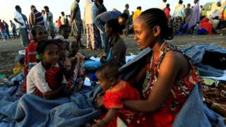 Ethiopian women who fled the ongoing fighting in Tigray region