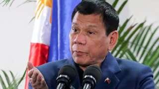 Philippine President Rodrigo Duterte at Davao International Airport on 22 October 2016