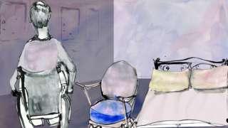 Man on wheelchair in bedroom