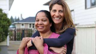 Asia Bibi, left, with Anne-Isabelle Tollet