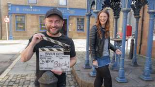 River City actors Stephen Purdon (plays Bob O'Hara) and Gayle Telfer Stevens (plays Caitlin McLean) on the set of the drama as it returns to start filming again