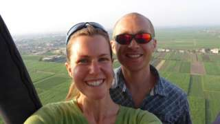 Esther and Dan in a hot air balloon