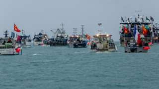 French fishing vessels staging a protest outside the harbour at St Helier, Jersey, Channel Islands, in May