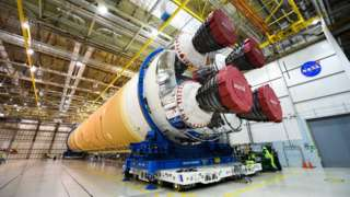 SLS core stage at Michoud in January