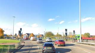 The A444 Jimmy Hill Way just before the junction with Stoney Stanton Road and Bell Green Road