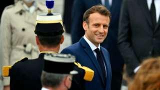 French President Emmanuel Macron arrives for Bastille Day Military parade on July 14, 2021 in Paris, France