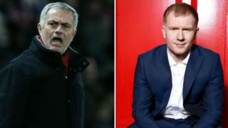 Manchester United manager Jose Mourinho (left) and Paul Scholes