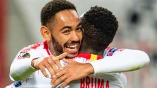 Matheus Cunha and Bruma celebrate for Leipzig
