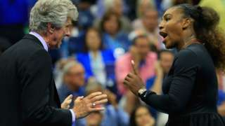 Serena Williams makes her point to referee Brian Earley