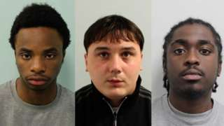 Theo Momodu, David Kerrigan and Taylar Isaac (left to right) will be sentenced on 23 April
