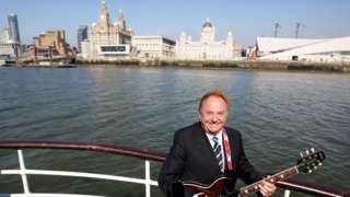 Gerry Marsden on board a Mersey ferry in 2009