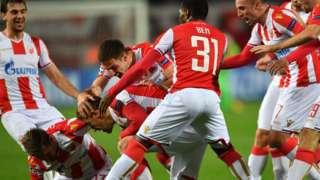 Red Star Belgrade players celebrate