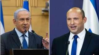 Benjamin Netanyahu (L) and Naftali Bennett at the Knesset, 30 May 2021