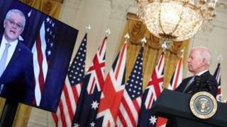 President Joe Biden delivers remarks on a National Security Initiative virtually with Australian Prime Minister Scott Morrison