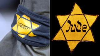 "A Berlin protester wore a yellow star with the word ""unvaccinated"", mimicking the notorious badges the Nazis forced to wear in World War Two"