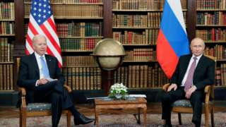 Russian President Vladimir Putin and U.S. President Joe Biden attend a meeting at Villa La Grange in Geneva, Switzerland June 16, 2021
