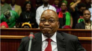 Former South African president Jacob Zuma appears in the Durban High court on April 6, 2018 in Durban.