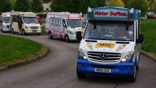 Ice cream vans on the circuit