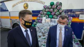 Drug Enforcement Administration acting Administrator Timothy J. Shea, left, and Bill Bodner, DEA Special Agent in Charge for the Los Angeles Field Division, at a news conference on Wednesday 14 October 2020