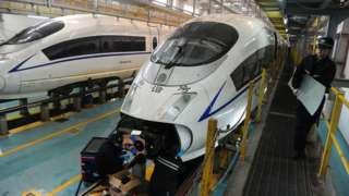 Ilustrasi pembuatan kereta cepat di China