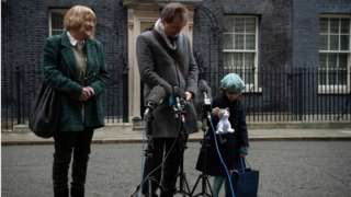 Gabriella Ratcliffe, the daughter of the jailed British-Iranian woman Nazanin Zaghari-Ratcliffe shows off the toy version of Larry the Downing Street Cat given to her during a visit in Downing Street on January 23, 2020