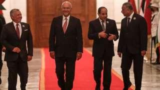 Bağdat'ta Mısırlı ve Ürdünlü liderleri Irak Başbakanı Kazımi ile birlikte Cumhurbaşkanı Berham Salih karşıladı