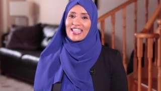 Journalist Hodan Naleyah is seen during a BBC interview