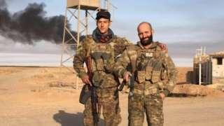 Daniel Newey (l) and Daniel Burke (r) in Syria
