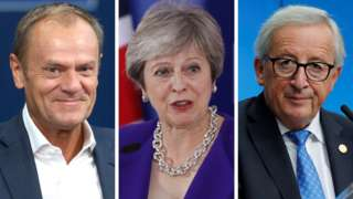 European Council president Donald Tusk, UK PM Theresa May and European Commission president Jean-Claude Juncker.