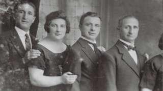 Belfast tailors Alec Leopold, Bea Leopold Freeman, Sam Freeman, and their father Philip Leopold