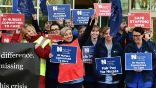 Nurses on strike in Belfast in December 2019