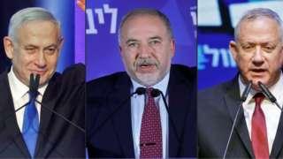 """رهبران احزابی که به احتمال زیاد نقش کلیدی در تشکیل دولت ائتلافی اسرائیل خواهند داشت:بنیامین نتانیاهو (رهبر حزب راستگرای لیکود)، آویگدور لیبرمن (رهبر حزب راستگرای """"اسرائیل خانه ما"""")، بنی گانتس ( رهبر حزب میانه """"آبی سفید"""")"""