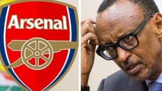 Aworan aarẹ Kagame ati ami idanimọ Arsenal