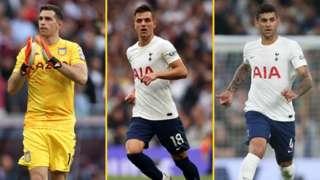 Aston Villa's Emiliano Martinez, Spurs' Giovani lo Celso and Cristian Romero