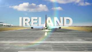 plane arrives with ireland sign