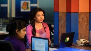 Tashnuva Anan Shishir was applauded by her colleagues after completing the news bulletin