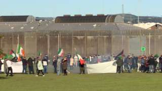 A demonstration took place outside Maghaberry Prison in support of dissident republicans refusing meals