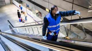 Cleaner in Copenhagen metro