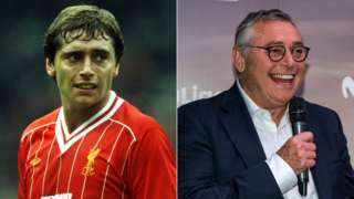 A split image of Michael Robinson while playing for Liverpool (left) and speaking at an event in his role as a pundit (right)