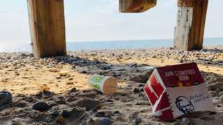 Litter on Great Yarmouth beach