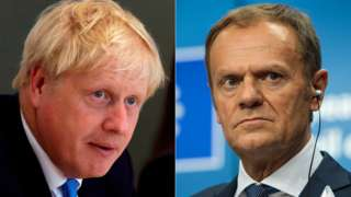Boris Johnson (left) and Donald Tusk