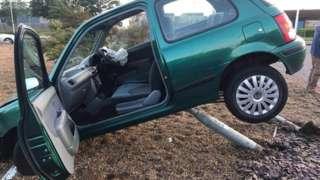 Car crashed on roundabout