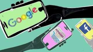 Google, Amazon and Facebook logos illustration