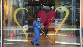 A cleaner at a quarantine hotel in Melbourne