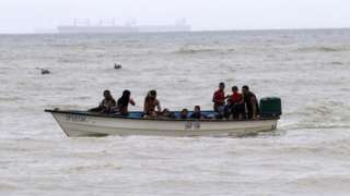 Venezuelan migrants have been crossing the sea to Trinidad and Tobago in their tens of thousands (file photo)